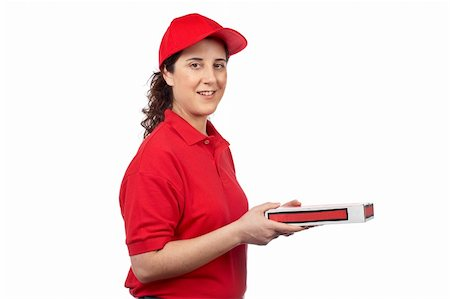 fat italian woman - A pizza delivery woman holding a hot pizza. Isolated on white Stock Photo - Budget Royalty-Free & Subscription, Code: 400-05075789