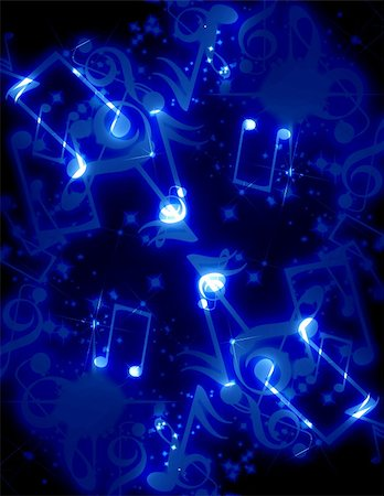 musical notes with sparkles on a blue background Stock Photo - Budget Royalty-Free & Subscription, Code: 400-05076350