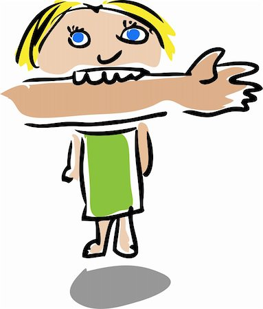 Cartoon illustration of a young child biting an arm Stock Photo - Budget Royalty-Free & Subscription, Code: 400-05071407