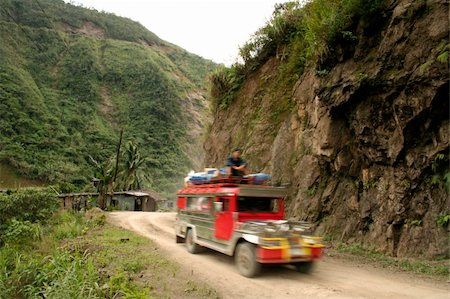 philippine terrace farming - jeepney travellin on mountain road northern luzon philippines Stock Photo - Budget Royalty-Free & Subscription, Code: 400-05071778