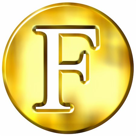 fancy letters - 3d golden letter F isolated in white Stock Photo - Budget Royalty-Free & Subscription, Code: 400-05072884