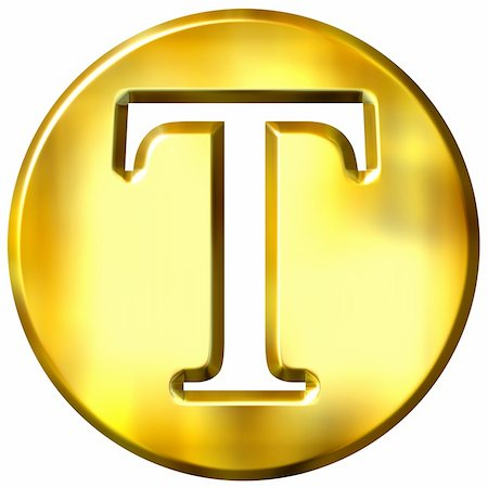 fancy letters - 3d golden letter T isolated in white Stock Photo - Budget Royalty-Free & Subscription, Code: 400-05072898