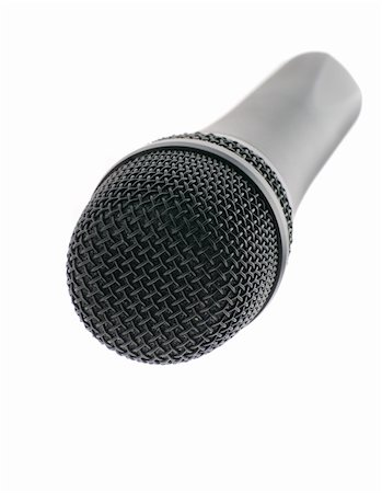 Microphone perspective. The studio musical microphone isolated on a white background Stock Photo - Budget Royalty-Free & Subscription, Code: 400-05085098