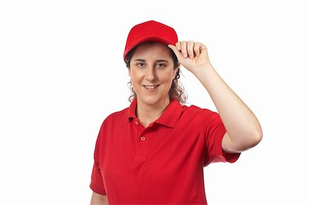 fat italian woman - A pizza delivery woman isolated on white Stock Photo - Budget Royalty-Free & Subscription, Code: 400-05087658