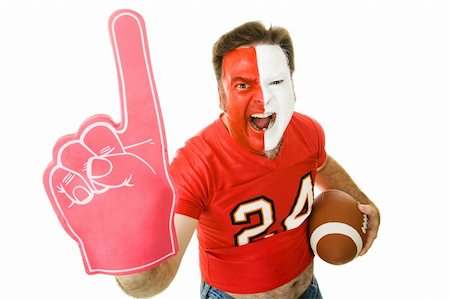 fat man balls - Football fan shouting and waving a Number One foam finger.  Isolated on white. Stock Photo - Budget Royalty-Free & Subscription, Code: 400-05082215