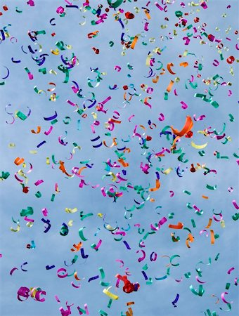 party celebration paper confetti - Confetti on the air against blue sky Stock Photo - Budget Royalty-Free & Subscription, Code: 400-05094112
