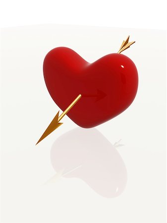red 3d heart pierced by golden arrow Stock Photo - Budget Royalty-Free & Subscription, Code: 400-05095786