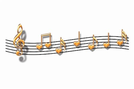Musical notes in the form of heart on a white background Stock Photo - Budget Royalty-Free & Subscription, Code: 400-05097198