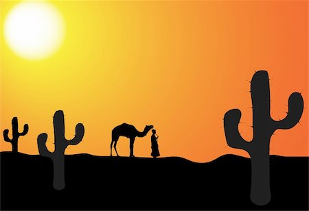 man with camel in the desert, vector illustration Stock Photo - Budget Royalty-Free & Subscription, Code: 400-05098608
