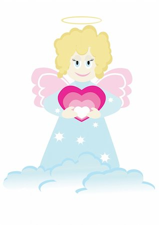 flying hearts clip art - Cartoon figure of little angel with heart. Good for greeting card. Stock Photo - Budget Royalty-Free & Subscription, Code: 400-05091741