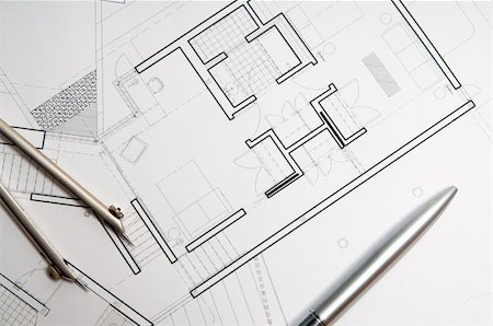 designer backgrounds - architecture blueprint & tools Stock Photo - Budget Royalty-Free & Subscription, Code: 400-05106360