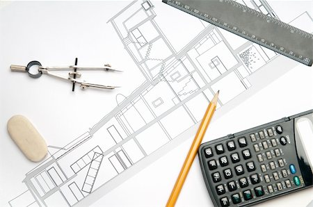 designer backgrounds - architecture blueprint & tools Stock Photo - Budget Royalty-Free & Subscription, Code: 400-05106362