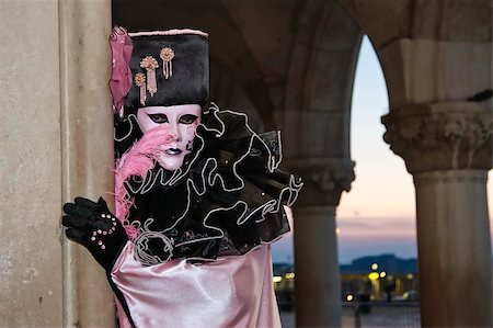 Pink clown at the venice masks festival Stock Photo - Budget Royalty-Free & Subscription, Code: 400-05106824