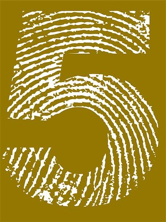 pokerman (artist) - Fingerprint Number - 5 (Highly detailed grunge Number) Stock Photo - Budget Royalty-Free & Subscription, Code: 400-05108350