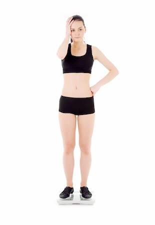 picture of unhappy woman on scales over white Stock Photo - Budget Royalty-Free & Subscription, Code: 400-05109120