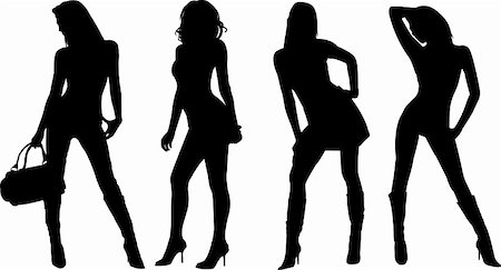 sexy women silhouettes - vector Stock Photo - Budget Royalty-Free & Subscription, Code: 400-05109167