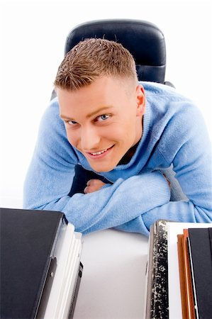 high angle view of young professional looking at camera in an office Stock Photo - Budget Royalty-Free & Subscription, Code: 400-05102610