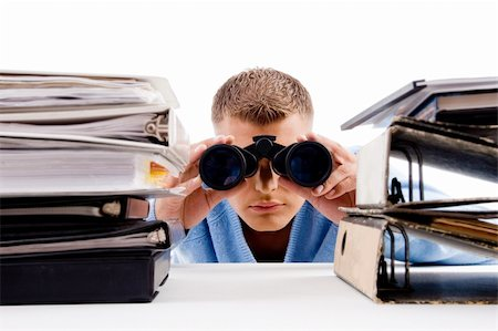 adult professional posing with binocular  in an office Stock Photo - Budget Royalty-Free & Subscription, Code: 400-05102611