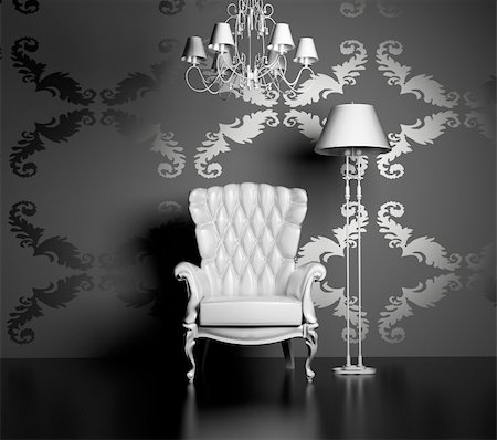 3D interior scene with classic armchair and lamp Stock Photo - Budget Royalty-Free & Subscription, Code: 400-05115058
