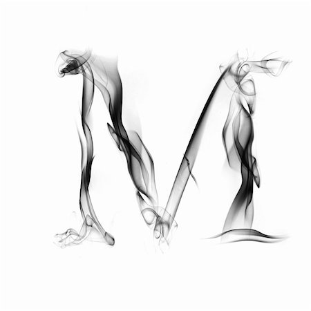 smoke magic abstract - one letter from a smoky alphabet isolated on white background Stock Photo - Budget Royalty-Free & Subscription, Code: 400-05118343