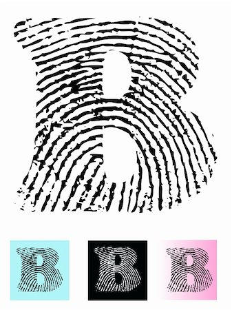 pokerman (artist) - Fingerprint Alphabet Letter B (Highly detailed Letter - transparent so can be overlaid onto other graphics) Stock Photo - Budget Royalty-Free & Subscription, Code: 400-05119288