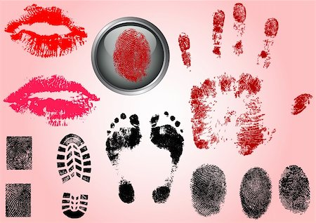 pokerman (artist) - Fingerprint Footprints and Lips - Very accurately scanned and traced ( Vectors are transparent so it can be overlaid on other images, vectors etc.) Stock Photo - Budget Royalty-Free & Subscription, Code: 400-05119311
