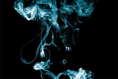 Blue colored smoke curves on black background Stock Photo - Budget Royalty-Free & Subscription, Code: 400-05119429