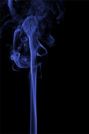Blue smoke pillar isolated at black background Stock Photo - Budget Royalty-Free & Subscription, Code: 400-05119431