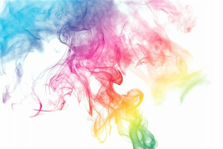 Colorful smoke curves isolated on white background Stock Photo - Budget Royalty-Free & Subscription, Code: 400-05119496