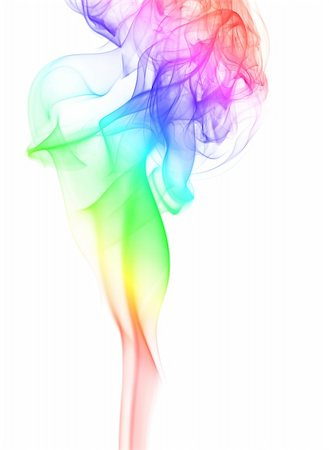 Elegant rainbow smoke pillar isolated at white background Stock Photo - Budget Royalty-Free & Subscription, Code: 400-05119493