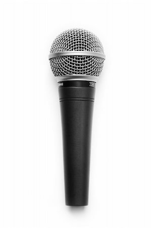 A chromed black microphone isolated on white background Stock Photo - Budget Royalty-Free & Subscription, Code: 400-05112558