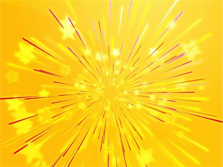 fireworks with yellow and green background - Central bursting explosion of dynamic flying stars, abstract illustration Stock Photo - Budget Royalty-Free & Subscription, Code: 400-05112740