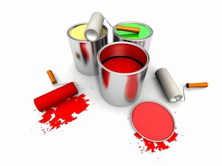 silver box - 3D render of roll painters, color cans and splashing Stock Photo - Budget Royalty-Free & Subscription, Code: 400-05113385