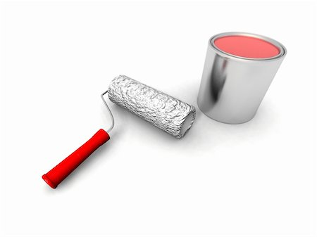silver box - a 3d render of some roll painter and red can Stock Photo - Budget Royalty-Free & Subscription, Code: 400-05113389
