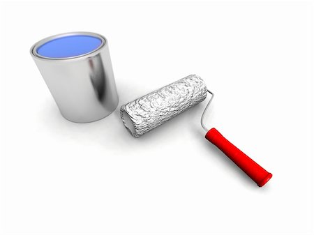 silver box - a 3d render of some roll painter and blue can Stock Photo - Budget Royalty-Free & Subscription, Code: 400-05113390
