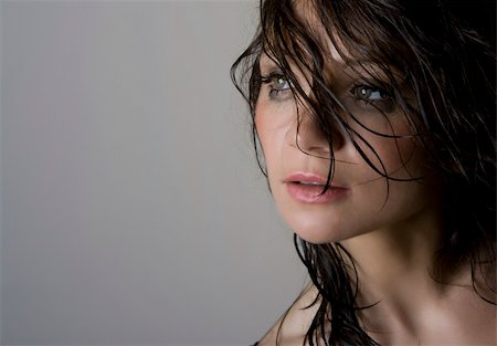 Close-up portrait of beautiful wet brunette Stock Photo - Budget Royalty-Free & Subscription, Code: 400-05124449
