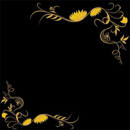 designer backgrounds - Classic golden frame with floral motif Stock Photo - Budget Royalty-Free & Subscription, Code: 400-05124975