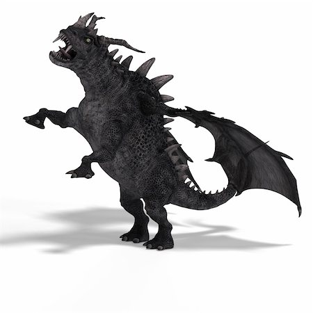 running away scared - 3D Rendering of a huge Fantasy Dragon with Clipping Path Stock Photo - Budget Royalty-Free & Subscription, Code: 400-05128478