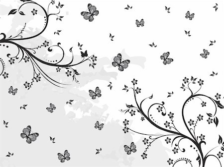 filigree designs in trees and insects - grunge background with artistic floral design, butterfly illustration Stock Photo - Budget Royalty-Free & Subscription, Code: 400-05128633