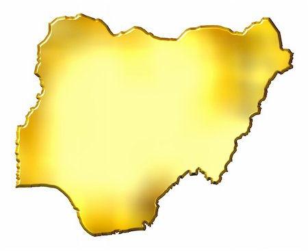 Nigeria 3d golden map isolated in white Stock Photo - Budget Royalty-Free & Subscription, Code: 400-05120235