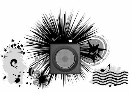 simsearch:400-04676325,k - abstract illustration music conceptual, black objects clip art , white isolated Stock Photo - Budget Royalty-Free & Subscription, Code: 400-05121348