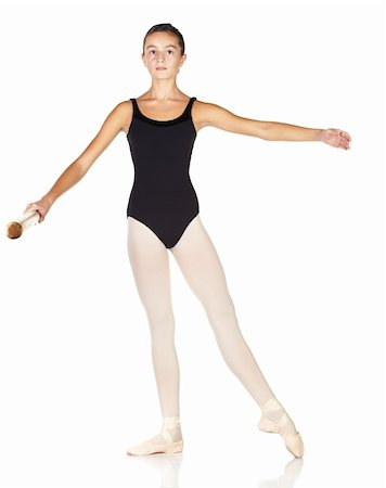 Young caucasian ballerina girl on white background and reflective white floor showing various ballet steps and positions. Pointe in Second Position. Not Isolated. Stock Photo - Budget Royalty-Free & Subscription, Code: 400-05122347
