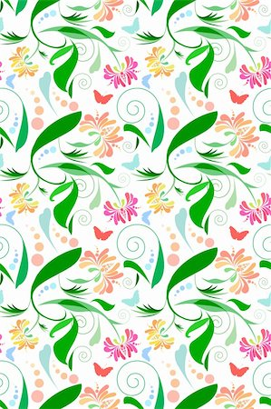 simsearch:400-04765926,k - Seamless Floral Pattern with butterflies. Very bright and festive. Stock Photo - Budget Royalty-Free & Subscription, Code: 400-05122498