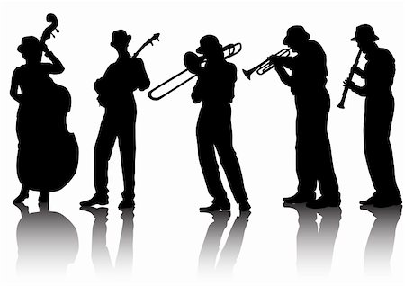 Vector drawing musical group. Silhouettes on a white background. Saved in the eps. Stock Photo - Budget Royalty-Free & Subscription, Code: 400-05135010