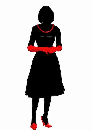 simsearch:400-04096935,k - Vector drawing girl in red gloves, silhouette against a white background. Saved in eps format for illustrator 8. Stock Photo - Budget Royalty-Free & Subscription, Code: 400-05135012