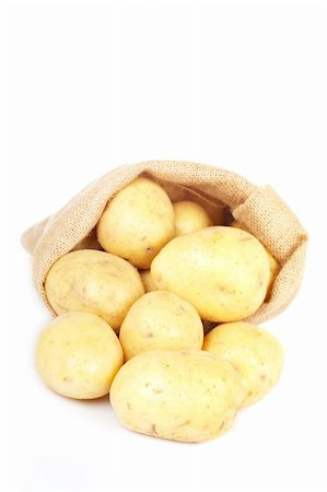 Burlap sack with raw and fresh potatoes spilling out over a white background. Soft shadow Stock Photo - Budget Royalty-Free & Subscription, Code: 400-05135652