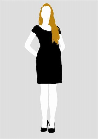 simsearch:400-04096935,k - Vector drawing girl in black dress, silhouette against a white background. Saved in eps format for illustrator 8. Stock Photo - Budget Royalty-Free & Subscription, Code: 400-05136254