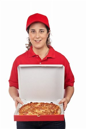 fat italian woman - A pizza delivery woman holding a hot pizza. Isolated on white Stock Photo - Budget Royalty-Free & Subscription, Code: 400-05136416