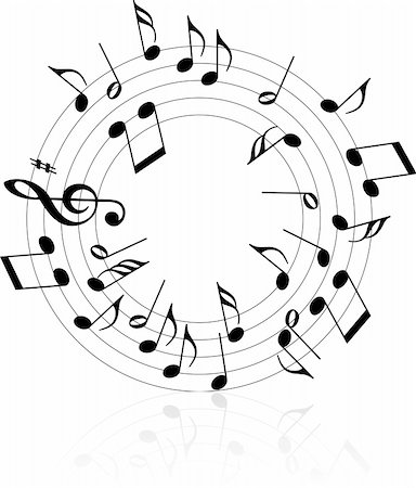 pretty in black clipart - Music theme black notes on white background - circle Stock Photo - Budget Royalty-Free & Subscription, Code: 400-05138978