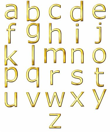 fancy letters - 3d golden alphabet isolated in white Stock Photo - Budget Royalty-Free & Subscription, Code: 400-05130079
